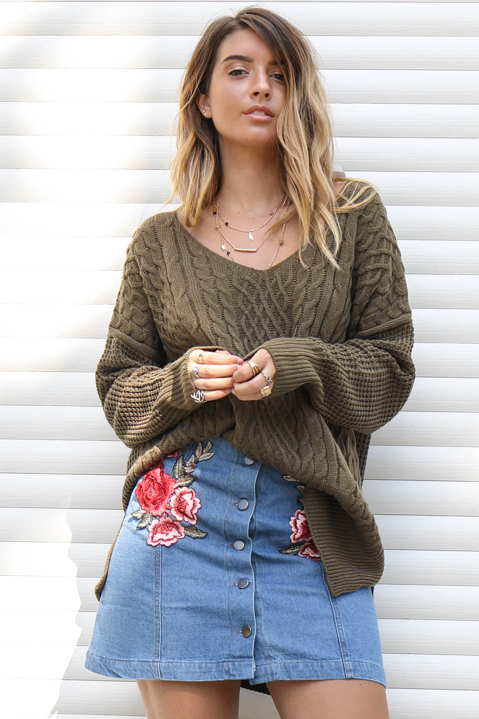 Coming Back For More Olive Cable Knit Sweater - Amazing Lace