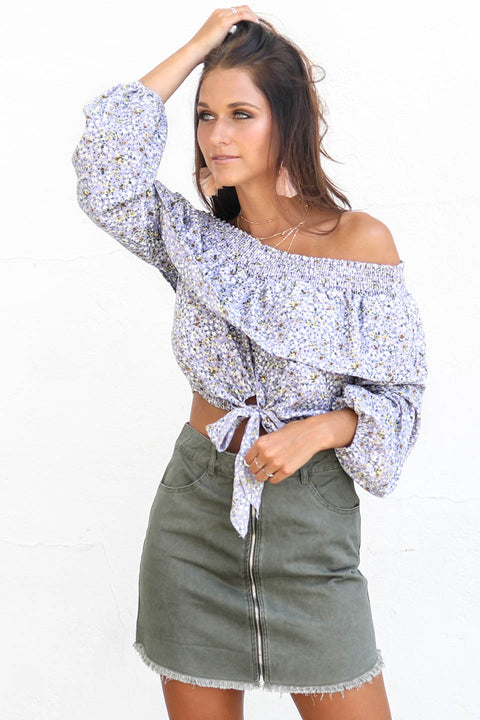 Feels Right Floral Off Shoulder Ruffle Crop Top