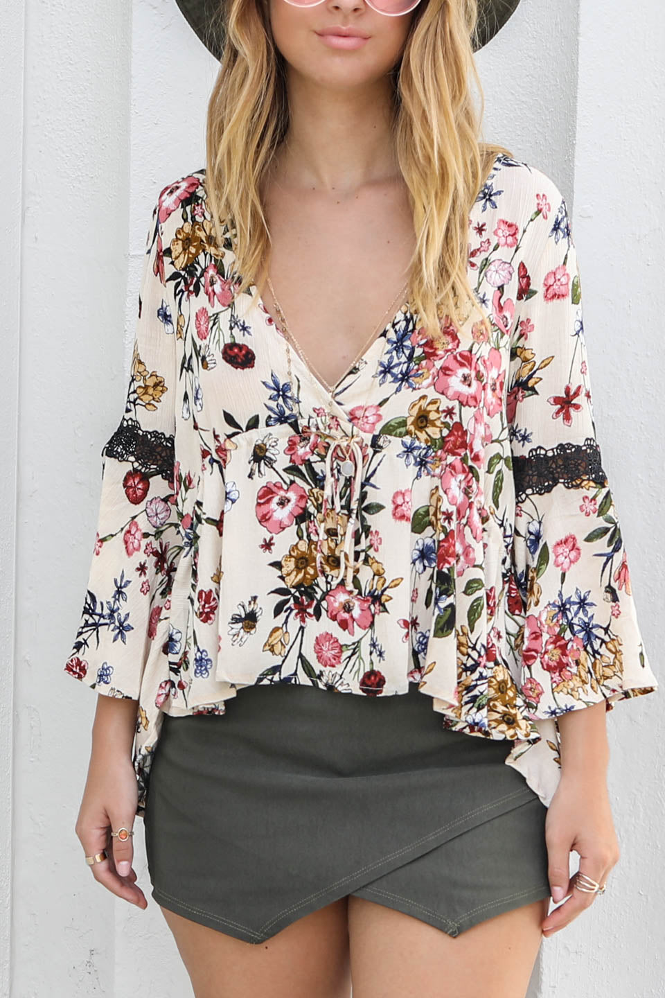 Falling Again Nude Floral Peasant Blouse - Amazing Lace