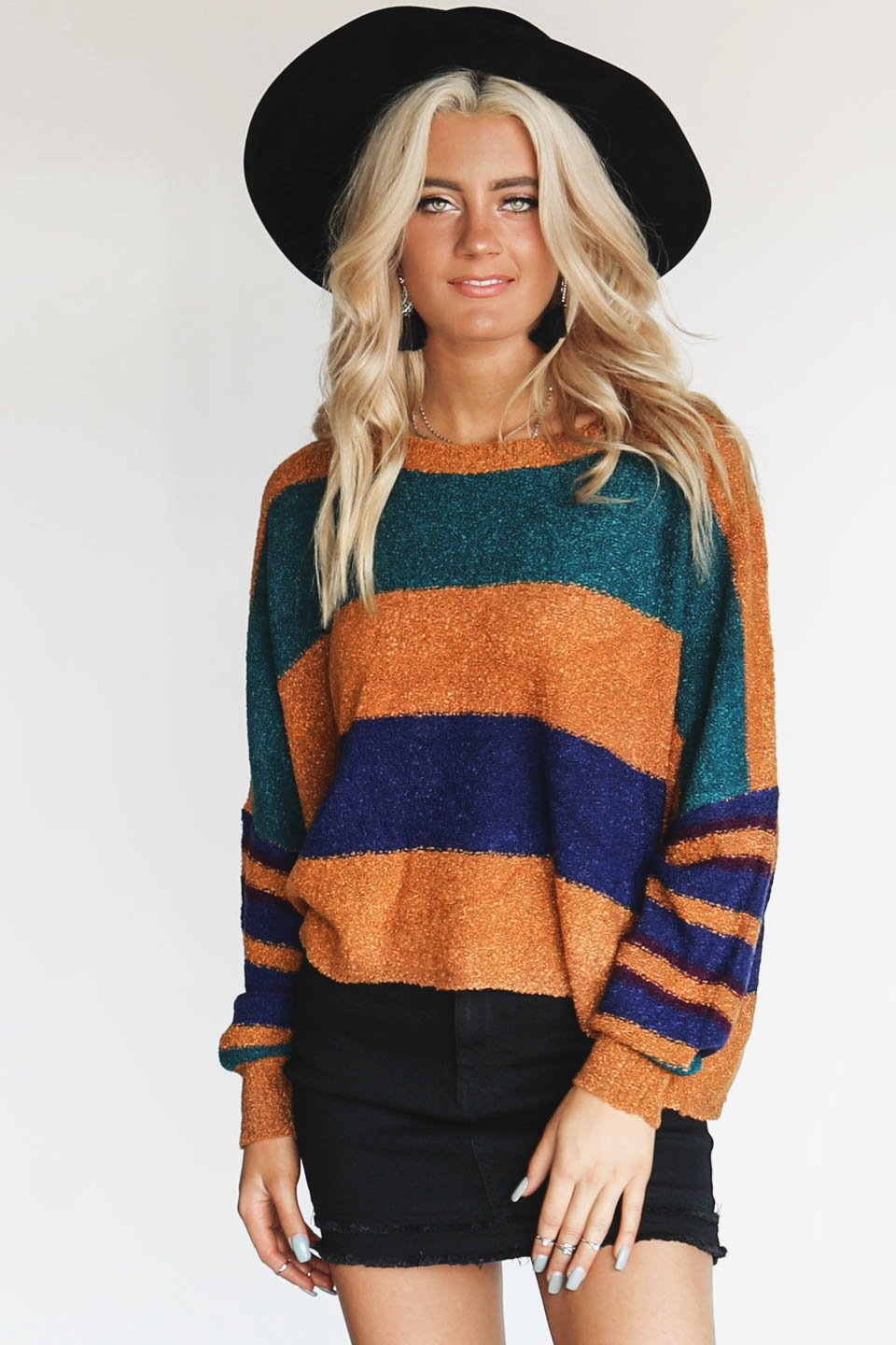 Classic Move Camel Oversized Stripe Knit Sweater