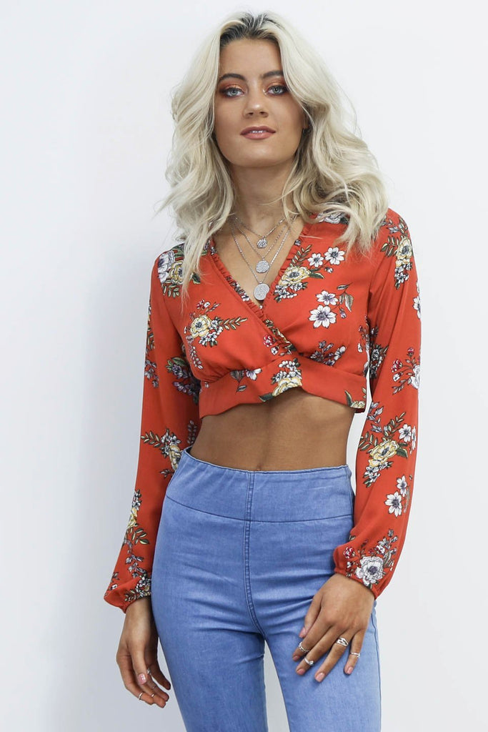 Spending Time Rust Floral Cropped Wrap Top