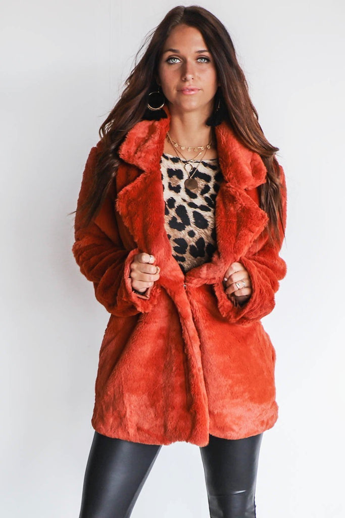 I'm Obsessed Rust Faux Fur Coat