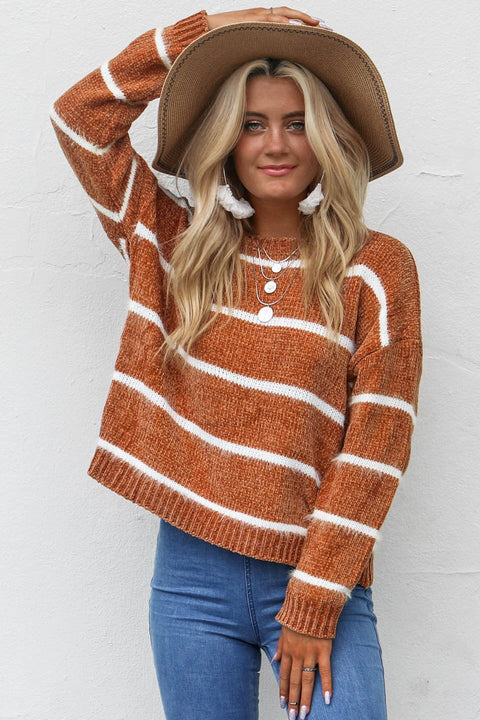 Fight For It Camel Chenille Sweater