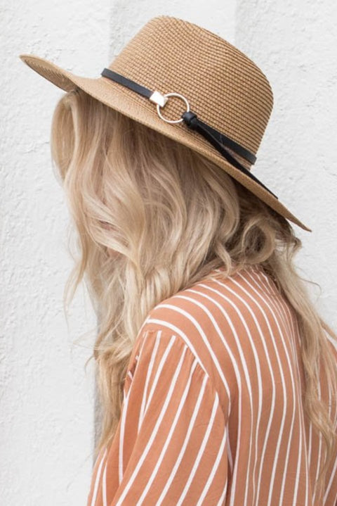 Tan Straw Hat With Gold Circle