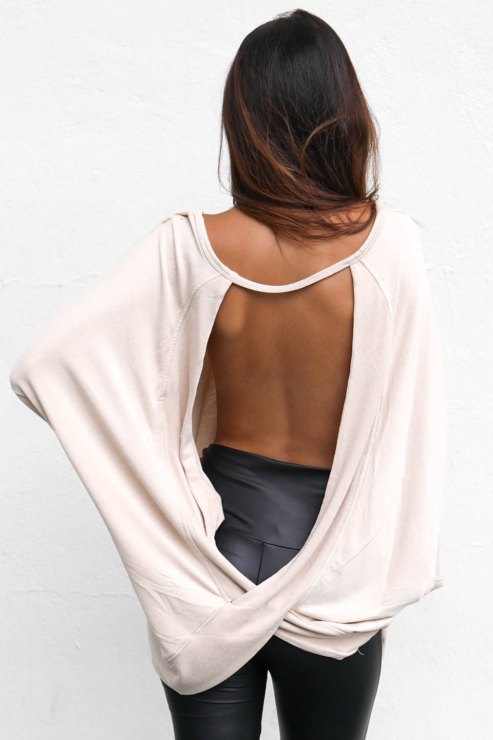 Hypnotized Taupe Open Back Sweater