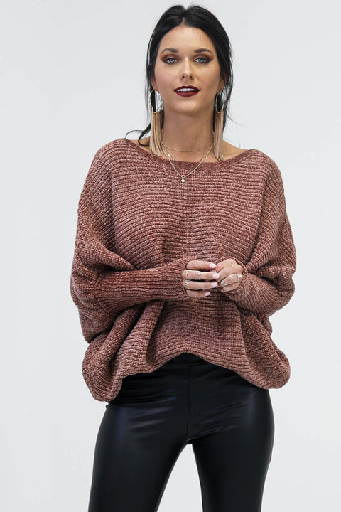 Just Enough Oversized Brownie Chenille Sweater