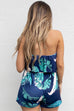 On The Yacht Palm Navy Romper
