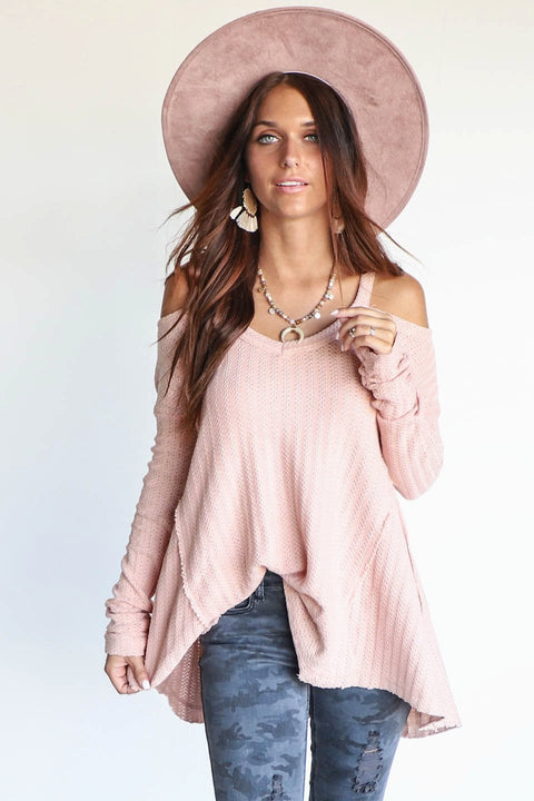 Just Move Pink Cold Shoulder Thermal Top