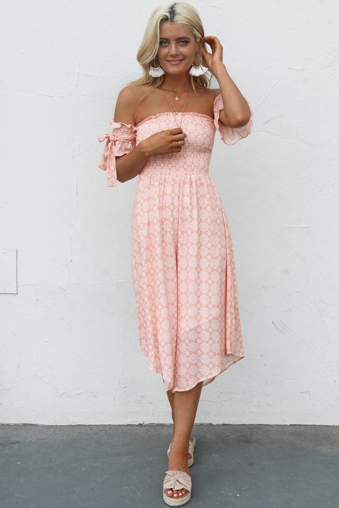 Morning Drive Peach Smocked Midi Jumpsuit