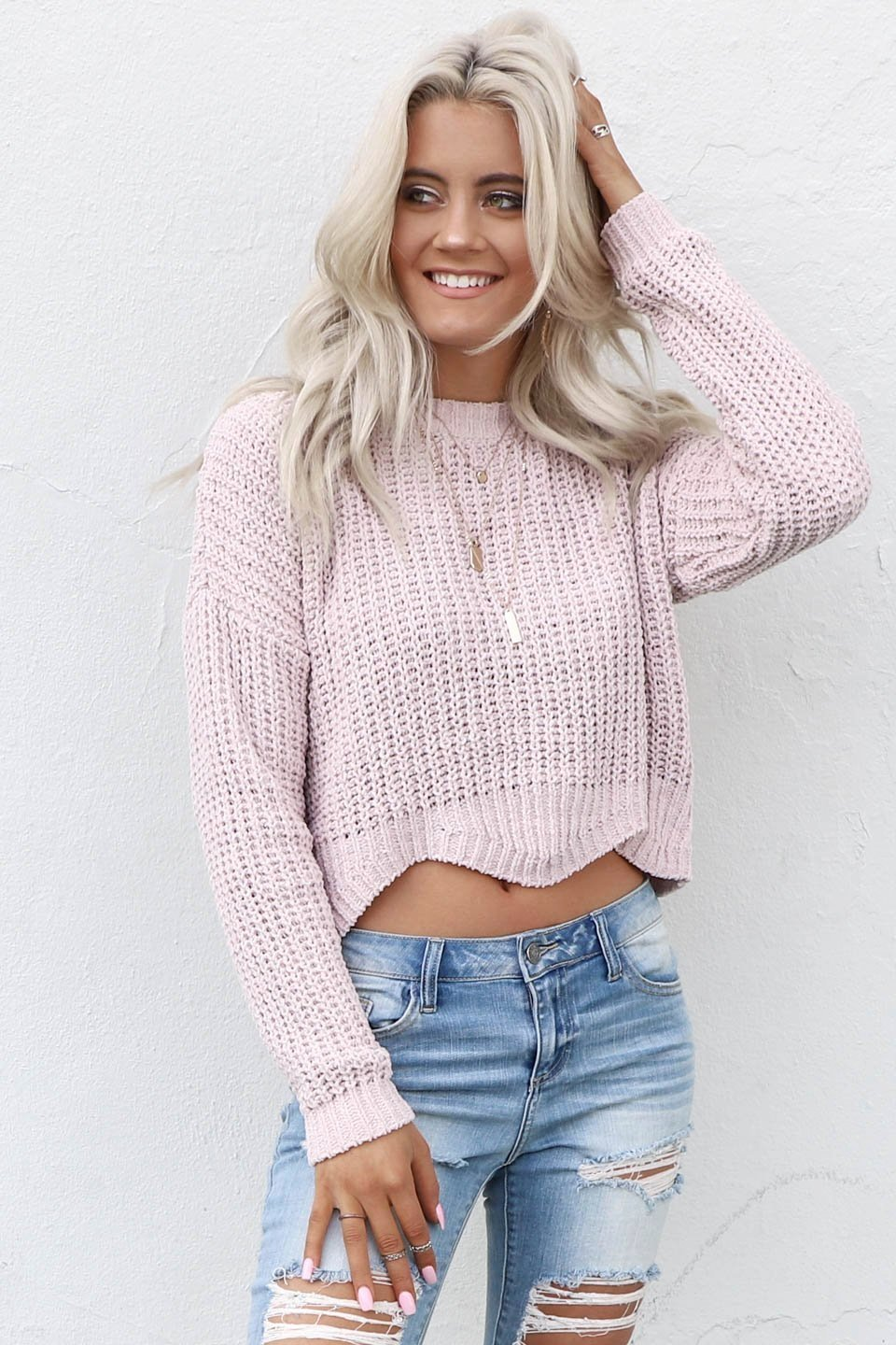 My Year Pink Chenille Scallop Crop Sweater