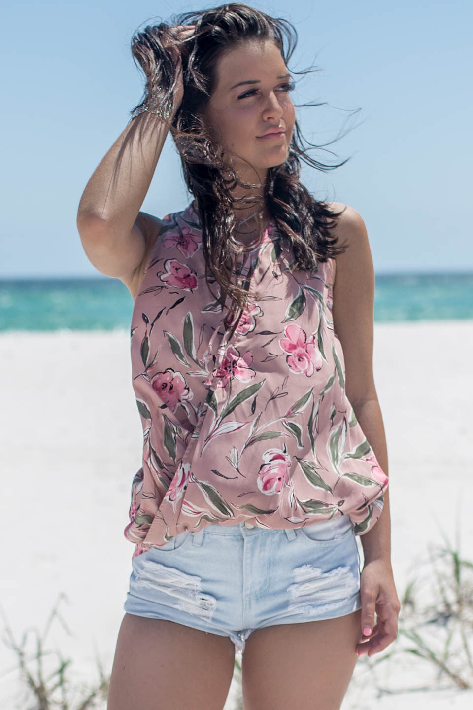 Forget Me Not Sleeveless Flower Print Top - Amazing Lace