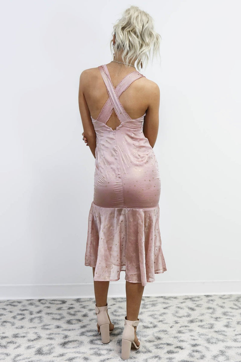 Star Bright Dusty Mauve Shimmer Mermaid Dress