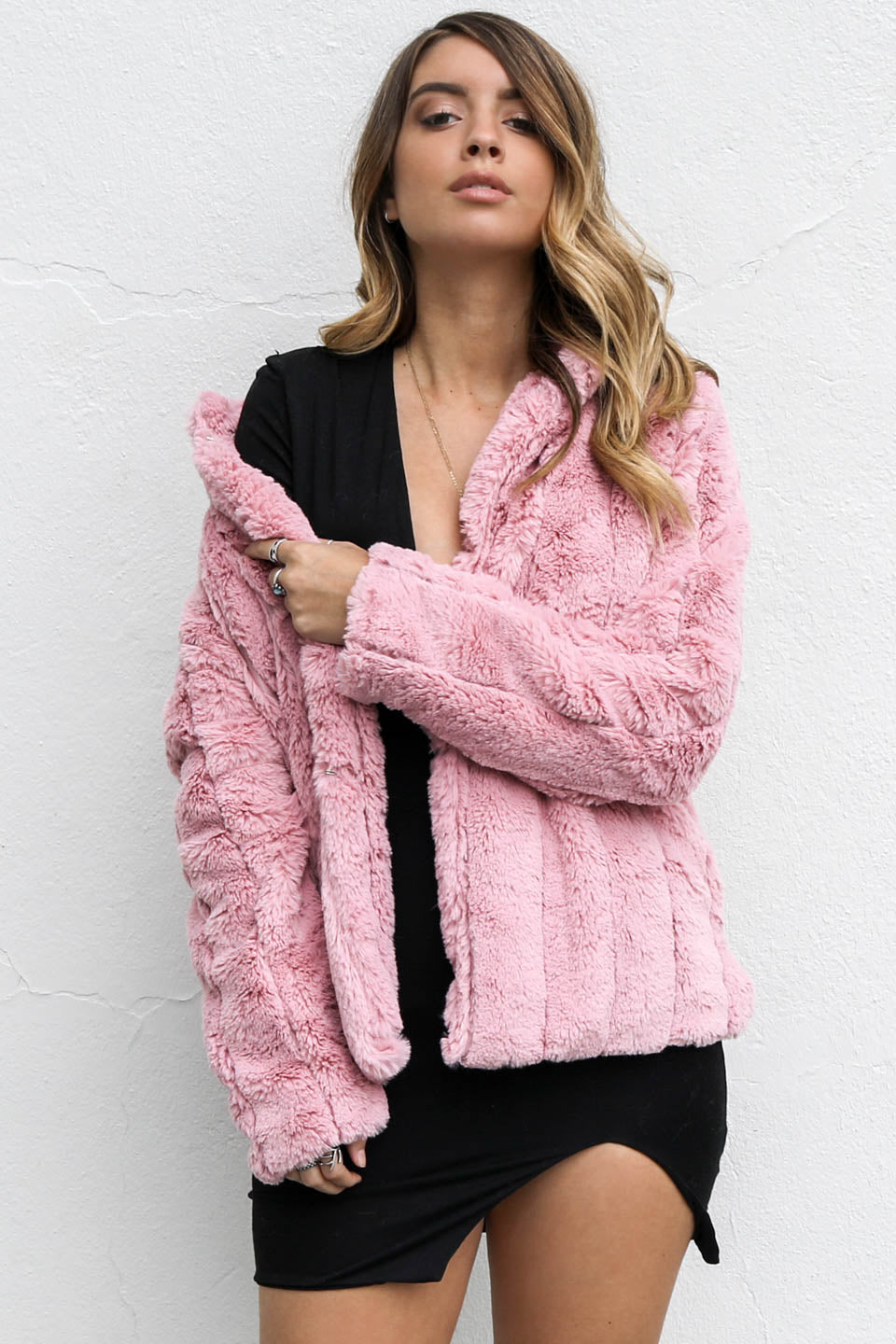 Call It Quits Mauve Fur Coat - Amazing Lace