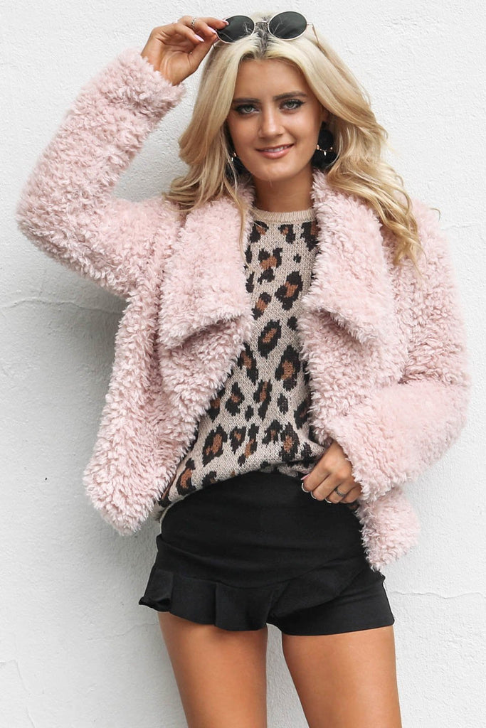How it Was Pink Faux Fur Open Front Jacket