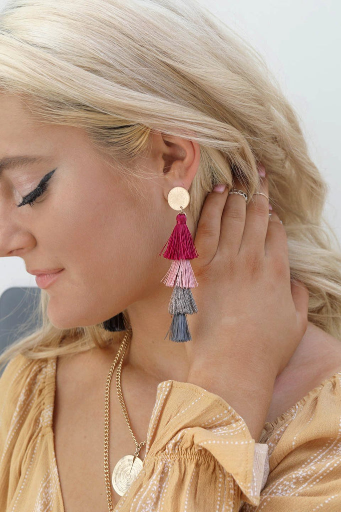 Oh So Nice Stacked Multicolor Tassel Earrings