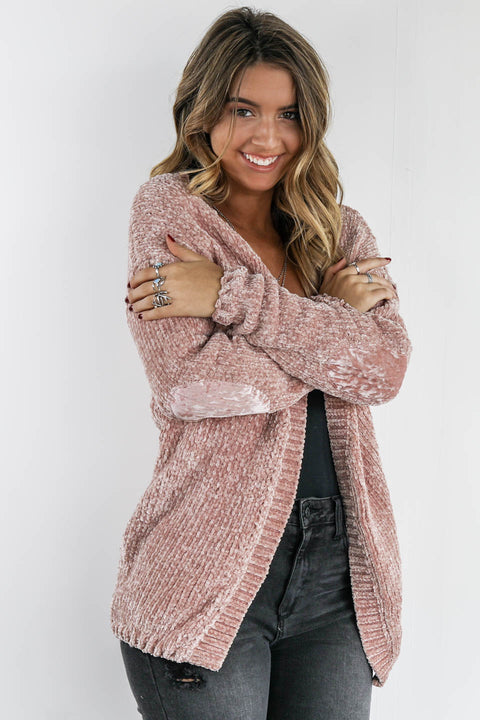 Getting Lost Canyon Rose Chenille  Cardigan With Velvet Elbow Patch - Amazing Lace
