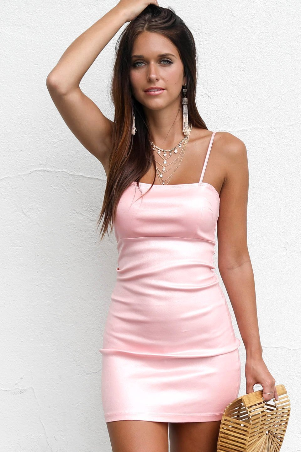 The Cosmopolitan Shimmer Baby Pink Dress