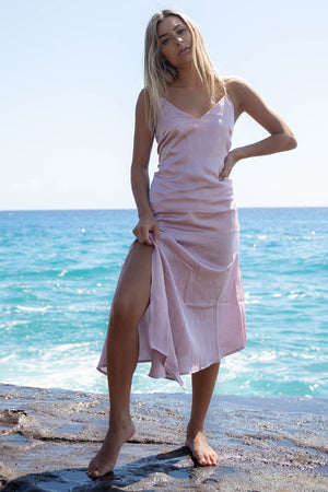 Sightsee Lilac Satin Asymmetrical Dress