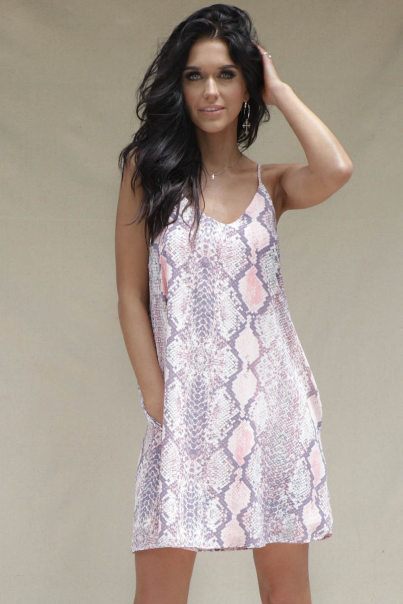 Hang Tight Pink and Lavender Python Dress