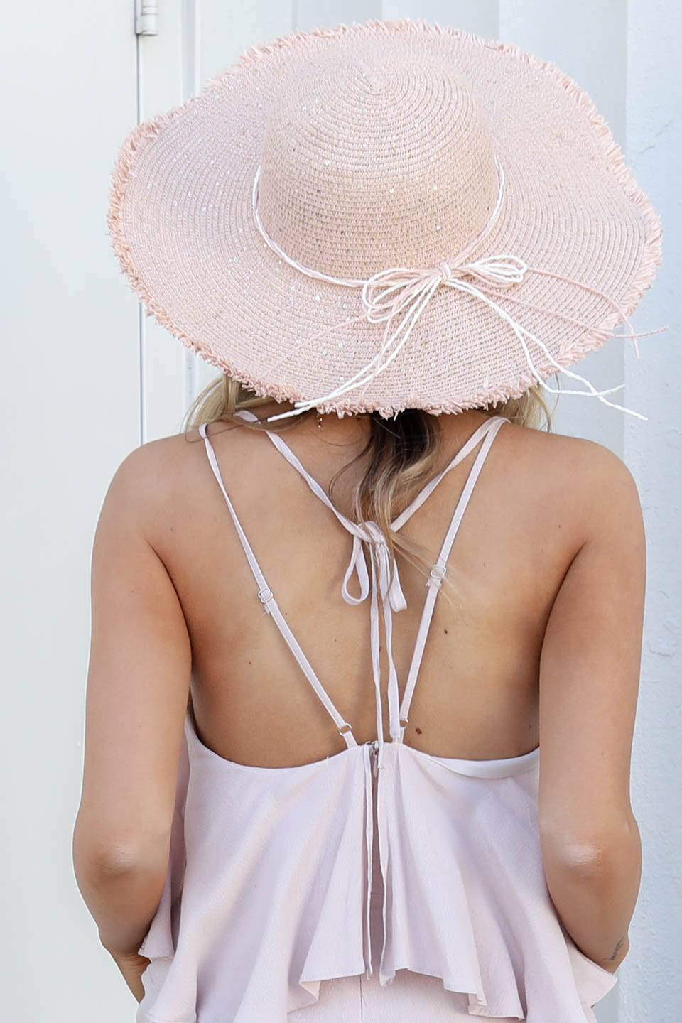 Pink Straw Hat with Straw Bow