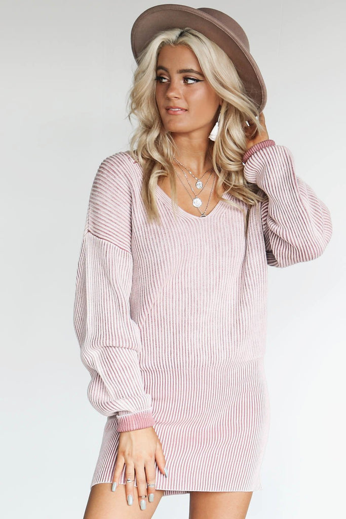 Most Charming V-Neck Mauve Ribbed Sweater Dress