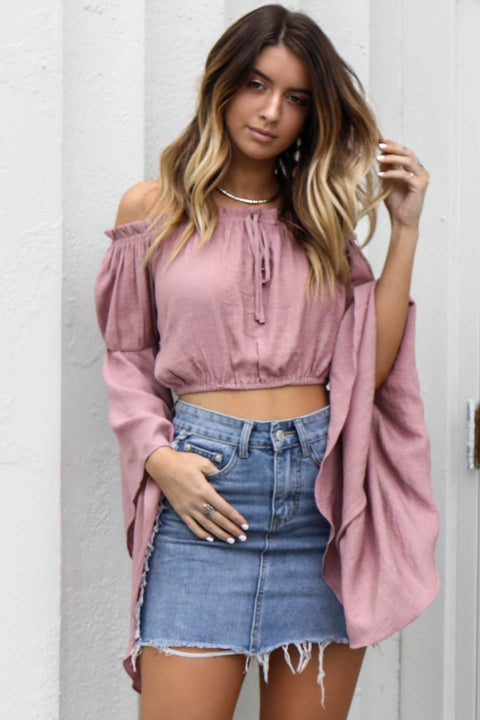 All The Years Antique Pink Bell Sleeve Crop Top