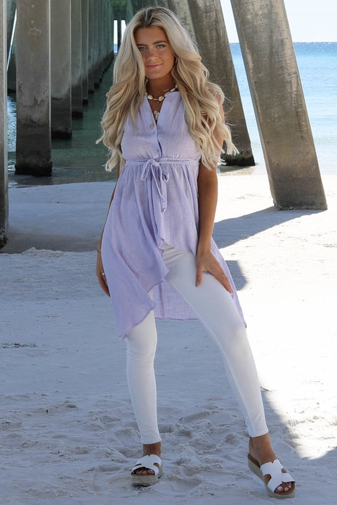 Carry On Lavender Linen Top