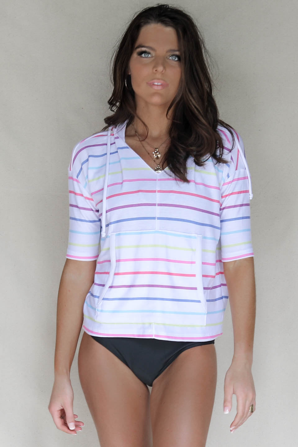 CHASER Rainbow Striped Pullover