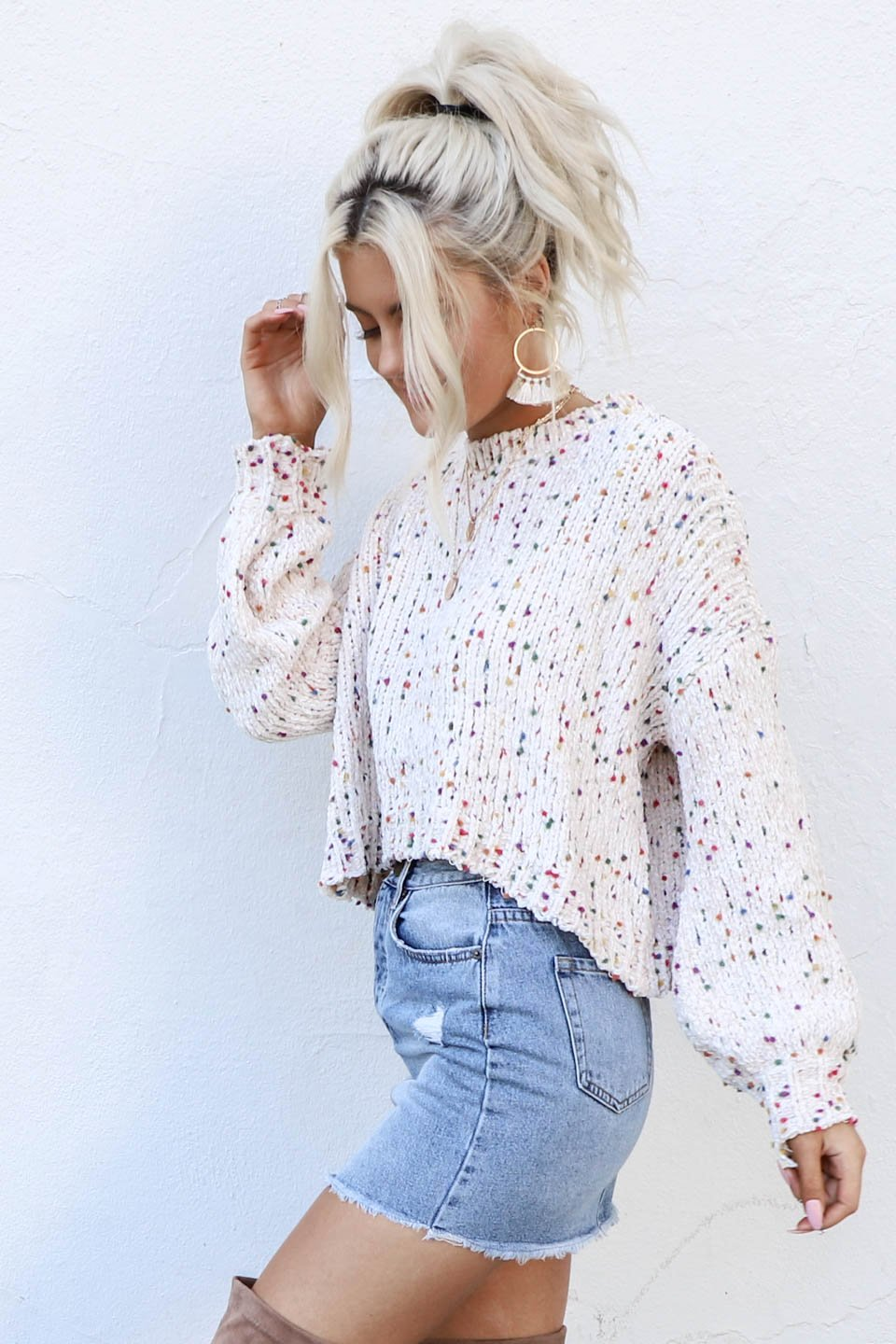 Any Day Cream Pom Pom Chenille Crop Sweater