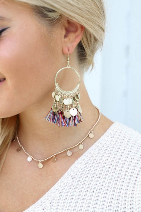 Well Said Gypsy Boho Tassel Gold Coin Earrings