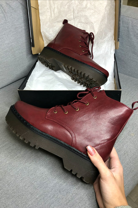 Smooth Ride Burgundy Platform Lace Up Boots