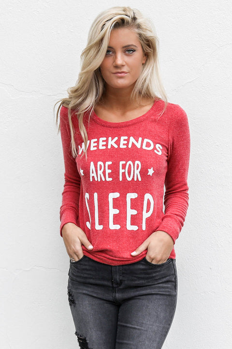 CHASER Weekends Are For Sleep Cardinal Long Sleeve Cross Back Top - Amazing Lace