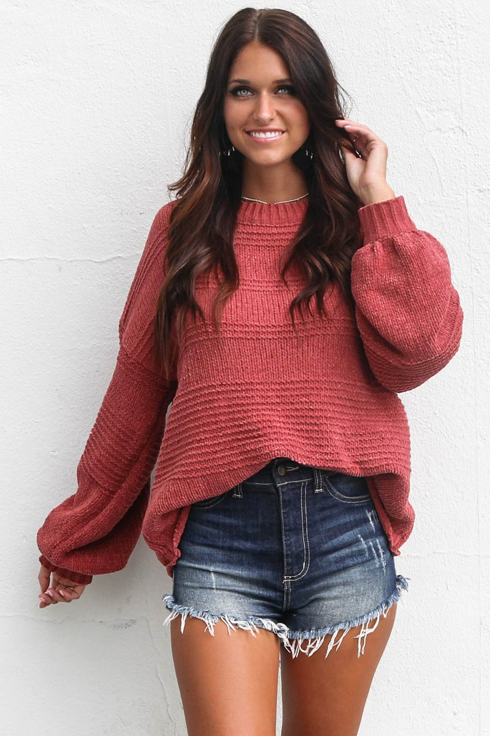 Cuddle Up Brick Chenille Stripe Sweater