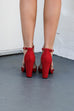 Heard It All Red Ruffle Suede Heel