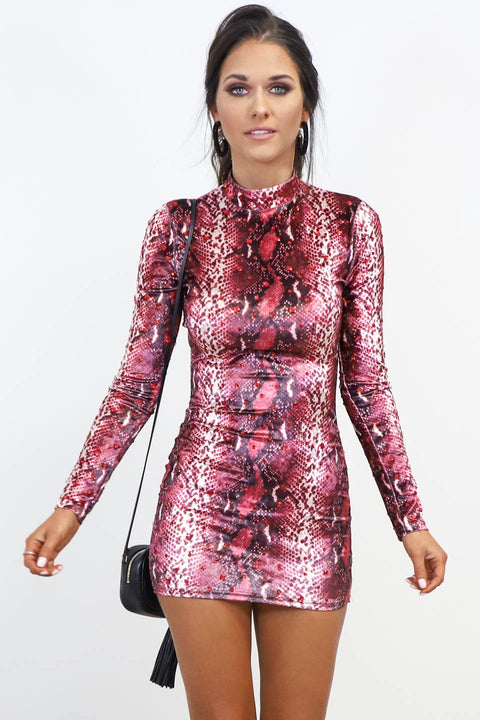Guard Down Red Snakeskin Rhinestone Dress