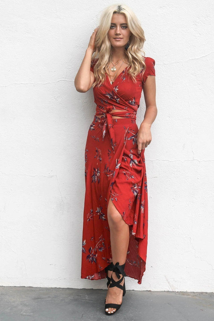 Be Okay Rust Floral Two Piece Skirt Set
