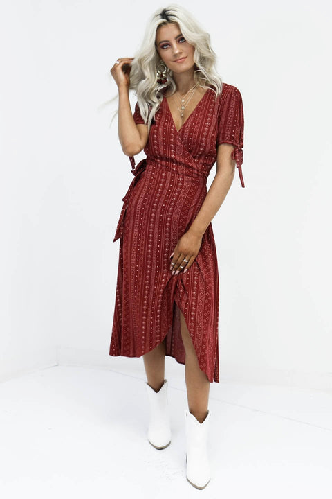 Going Together Wine Boho Midi Wrap Dress