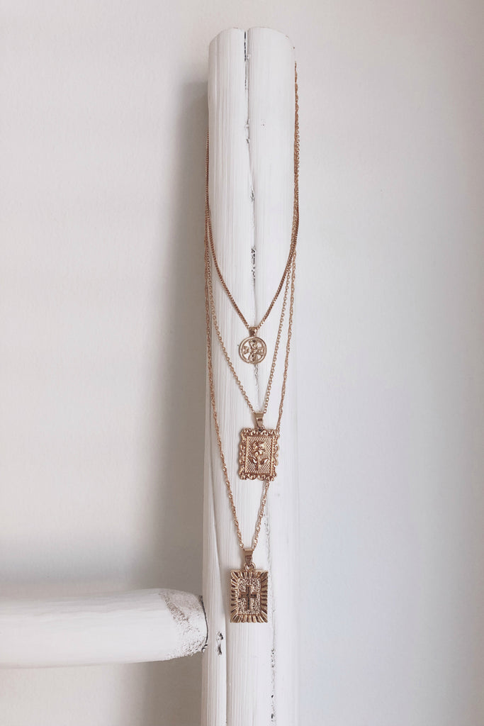 Claudia Gold Layered Rosary Necklace
