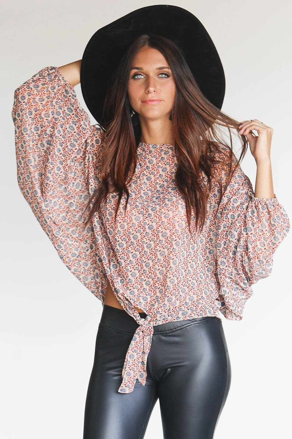 Spun Around Floral Long Sleeve Tie Front Top