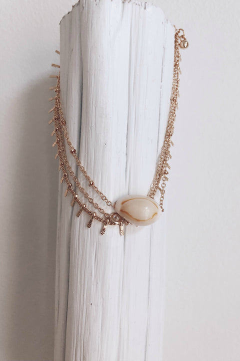 Pier Nights Cowrie Shell Layered Anklet