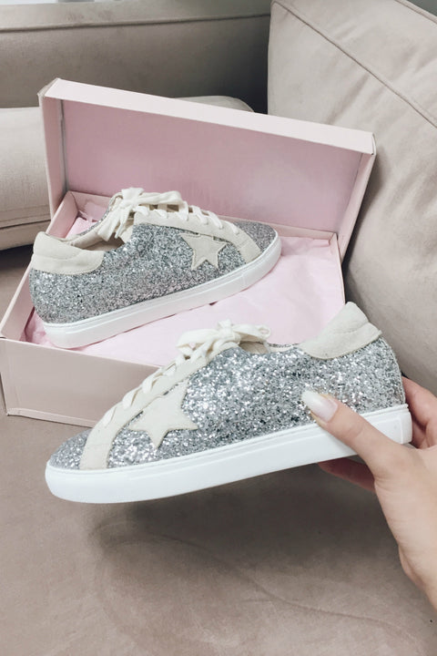 7a98fc7fd4 Perry Silver Glitter Star Sneakers