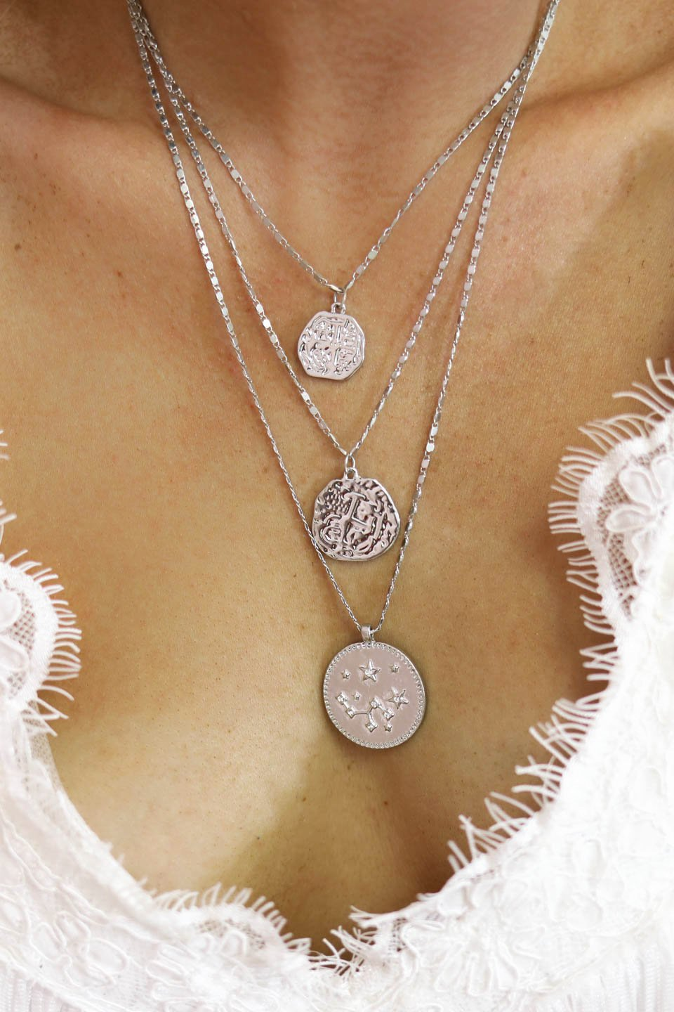 Moonlight Layered Silver Coin Necklace