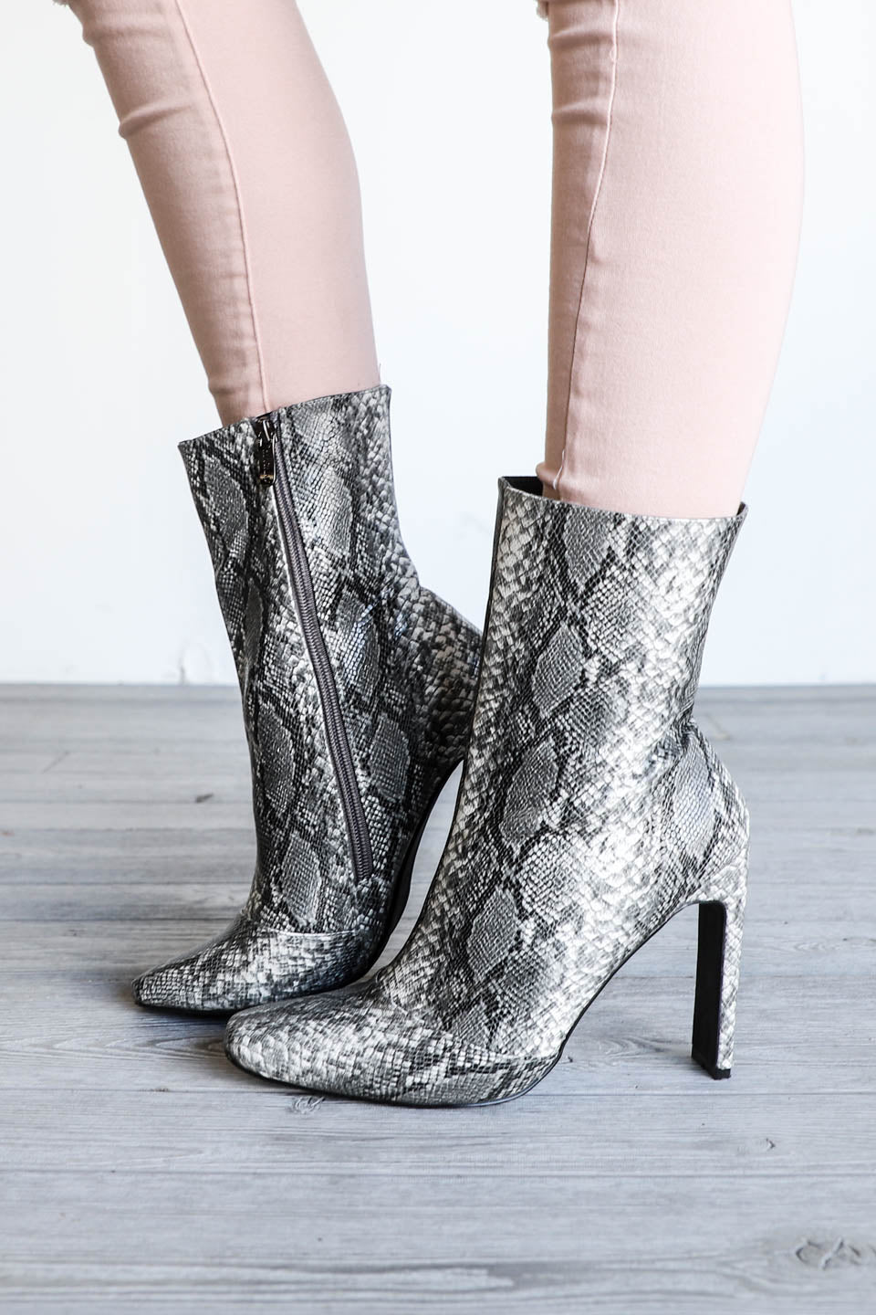 Outlaw Gray Snake Heel Booties