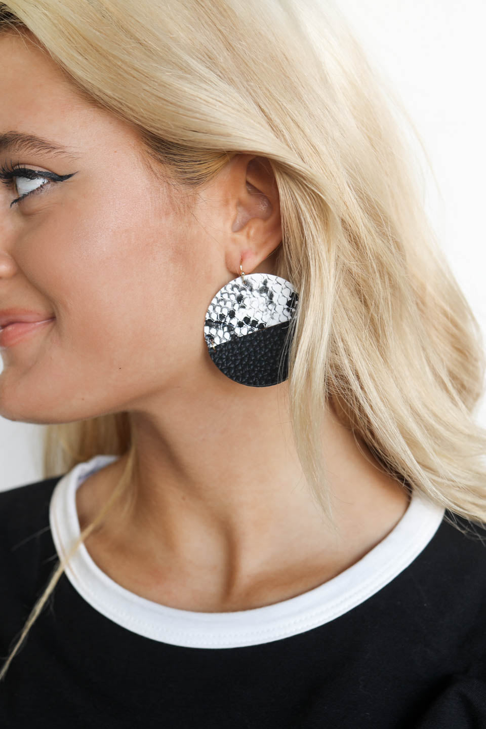 Phase Me Black Snakeskin Round Contemporary Earrings