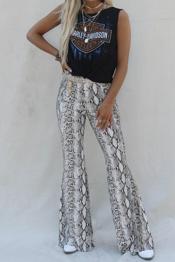 Another Wave Mocha Python High Waist Flare Pants