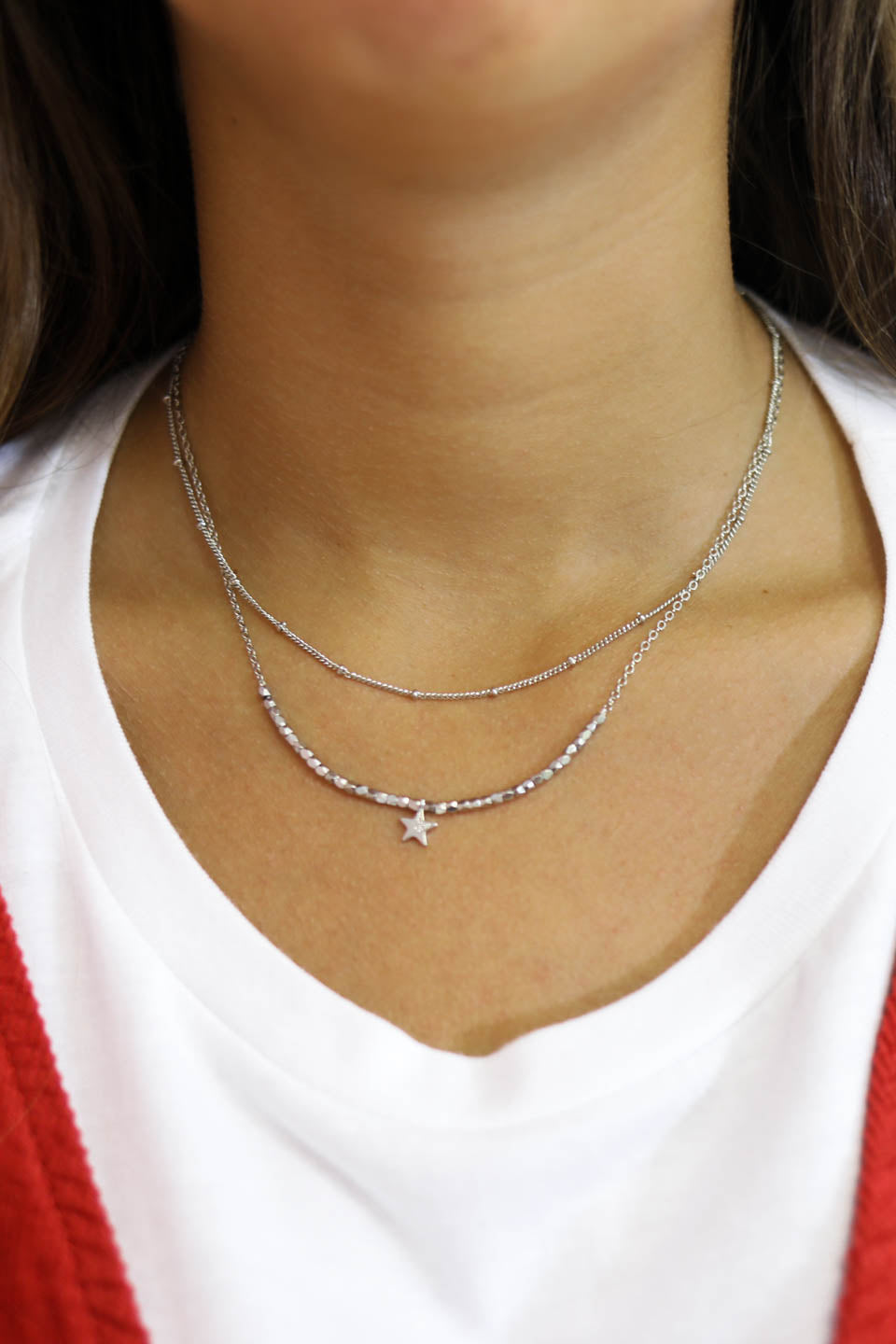 Star Layered Silver Choker