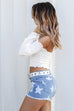 No Promises Star Denim Shorts