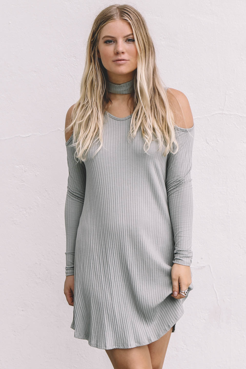 Everlong Olive Ribbed Mini Dress - Amazing Lace