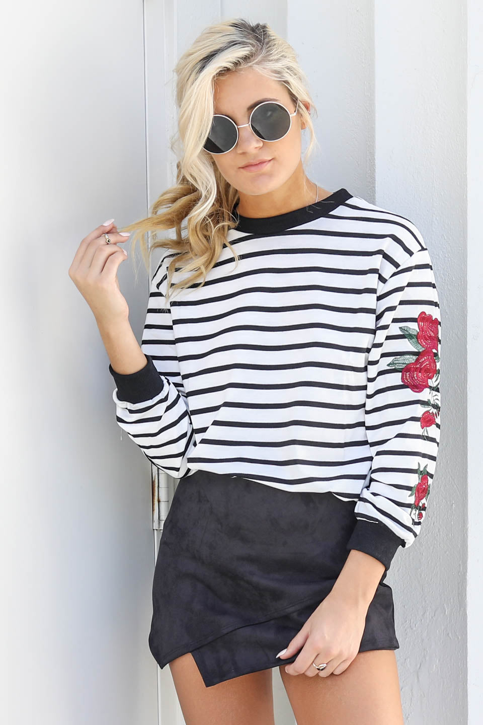 Back In Town White Striped Rose Top - Amazing Lace