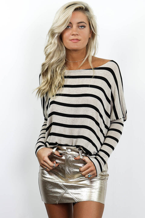 Just Being Honest Off The Shoulder Striped Top - Amazing Lace